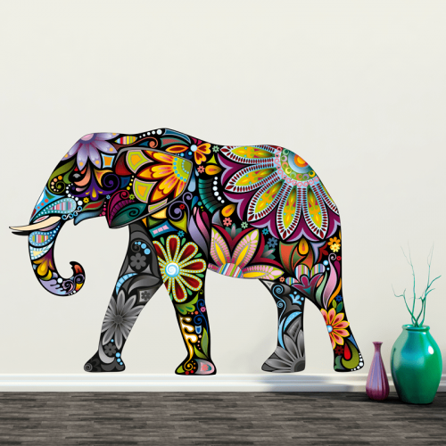 Simulación vinilo elefante de colores
