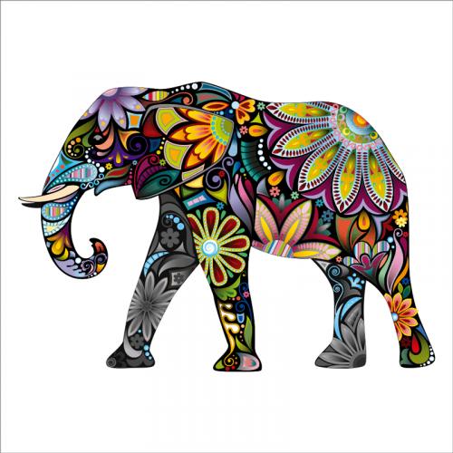 vinilo elefante de colores