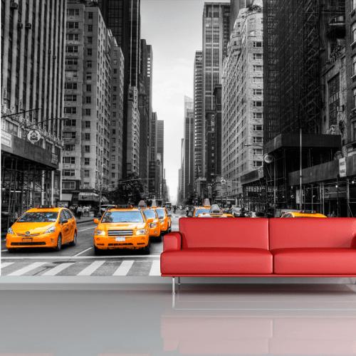 Simulacion mural Taxis en nueva york
