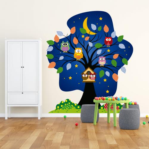 Simulación vinilo infantil arbol y buhos