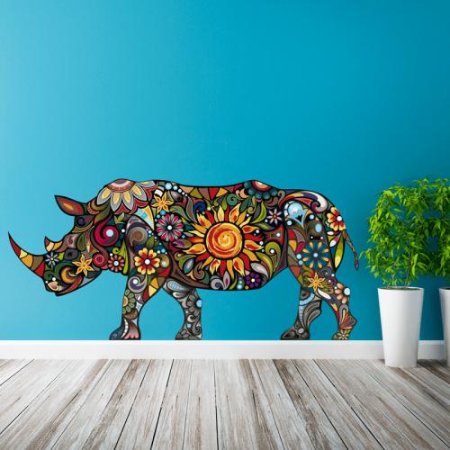 Simulacion vinilo rinoceronte multicolor