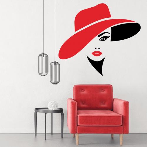 Simulacion vinilos rostro de mujer con sombrero