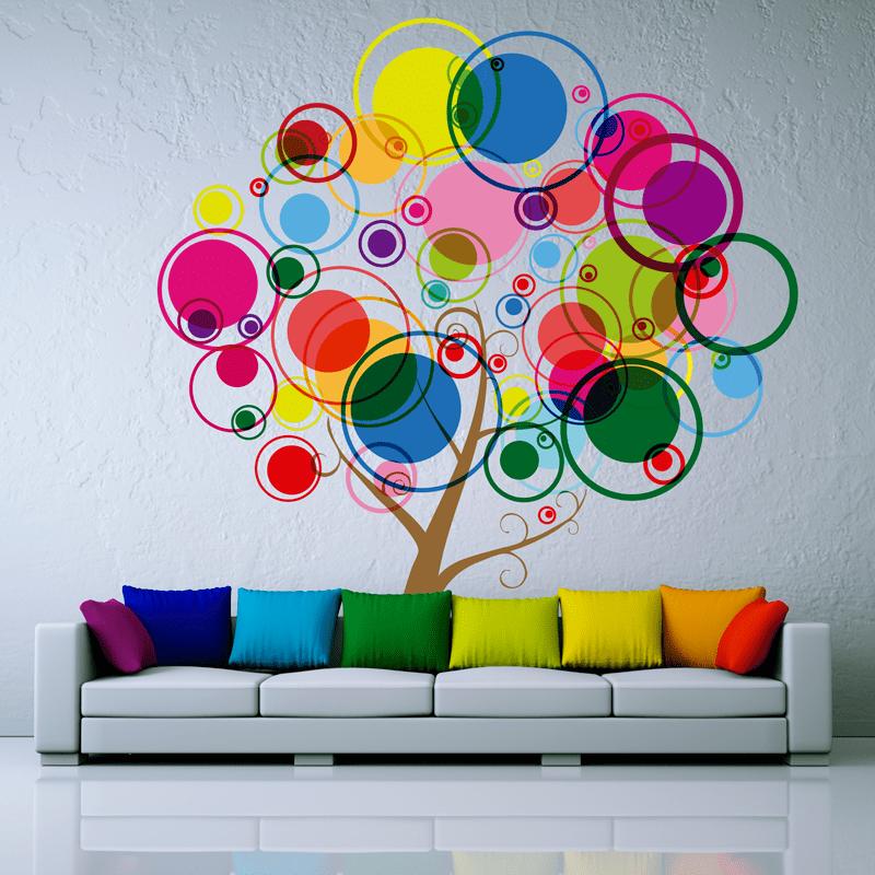 Simulación vinilo árbol círculos de colores