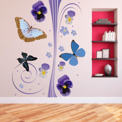 simulación vinilo flores y mariposas a color