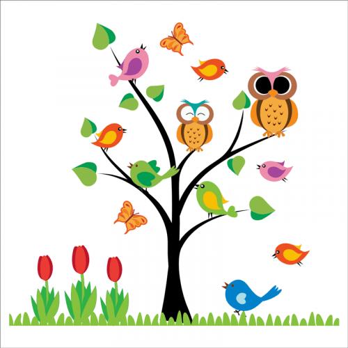 Árbol infantil con buhos