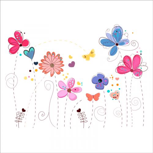 vinilos pared flores