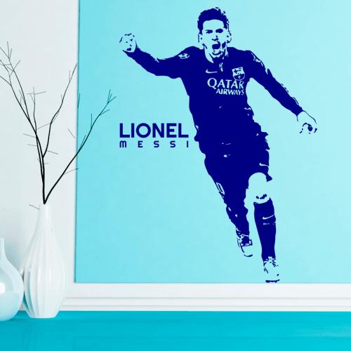 Simulación vinilo Messi celebrando un gol