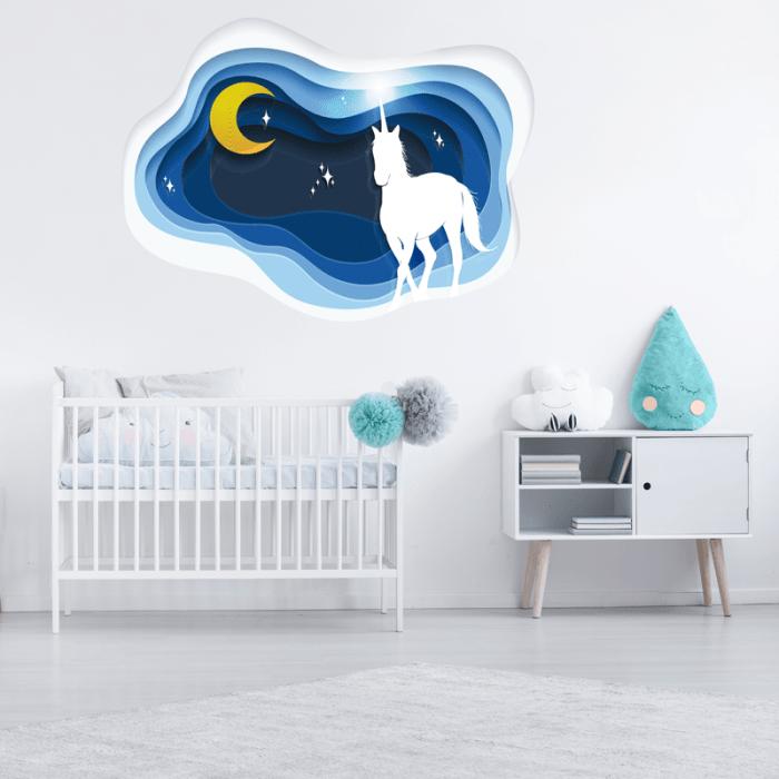 simulacion vinilo unicornio y luna