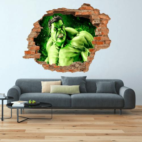 Simulación vinilo Hulk 3d