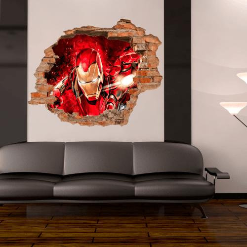 Simulación vinilo Iron Man Marvel 3d