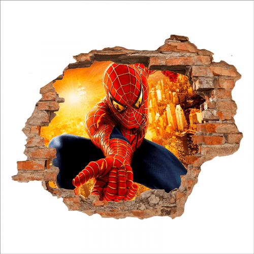 Vinilo de pared efecto 3d Spiderman
